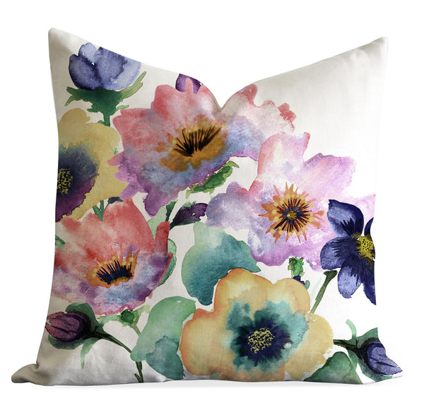 Watercolour Bouquet throw pillow cover - Senay Design Studio