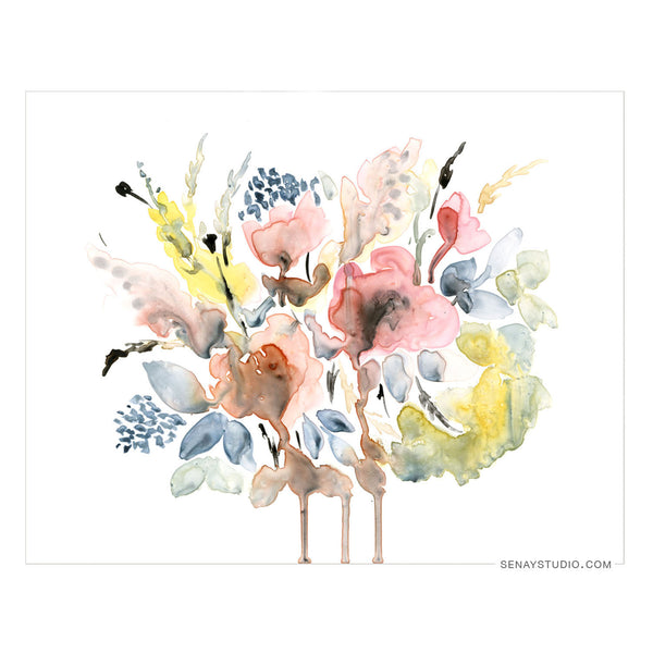 Abstract Floral giclée canvas (Un-Stretched) - Senay Design Studio