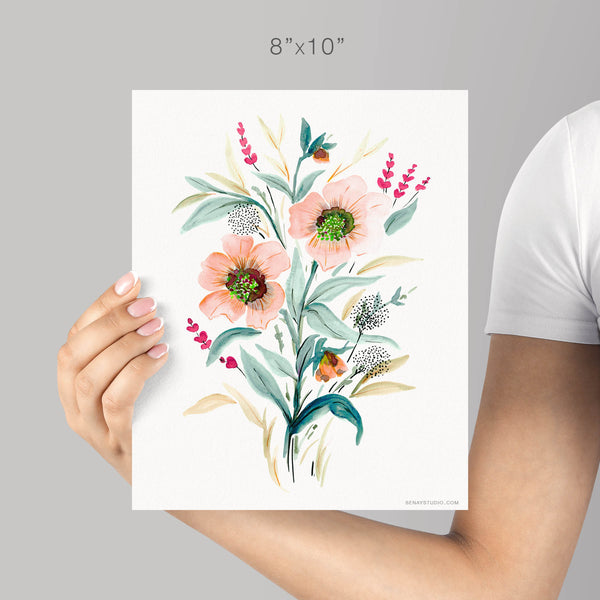 Dancing Flowers giclée watercolour paper - Senay Design Studio