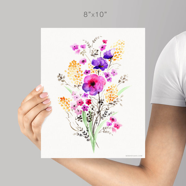 Garden Flowers giclée watercolour paper - Senay Design Studio