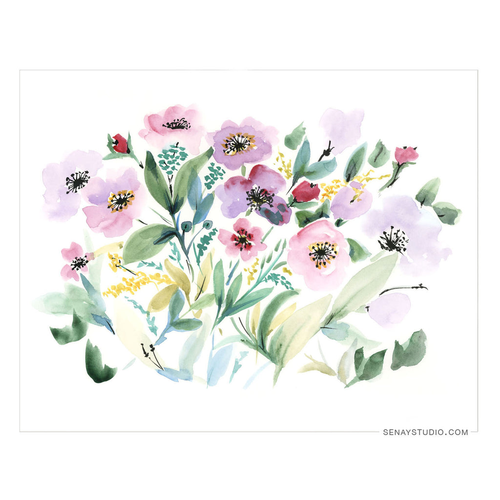 Pink Flowers giclée canvas (READY TO HANG)