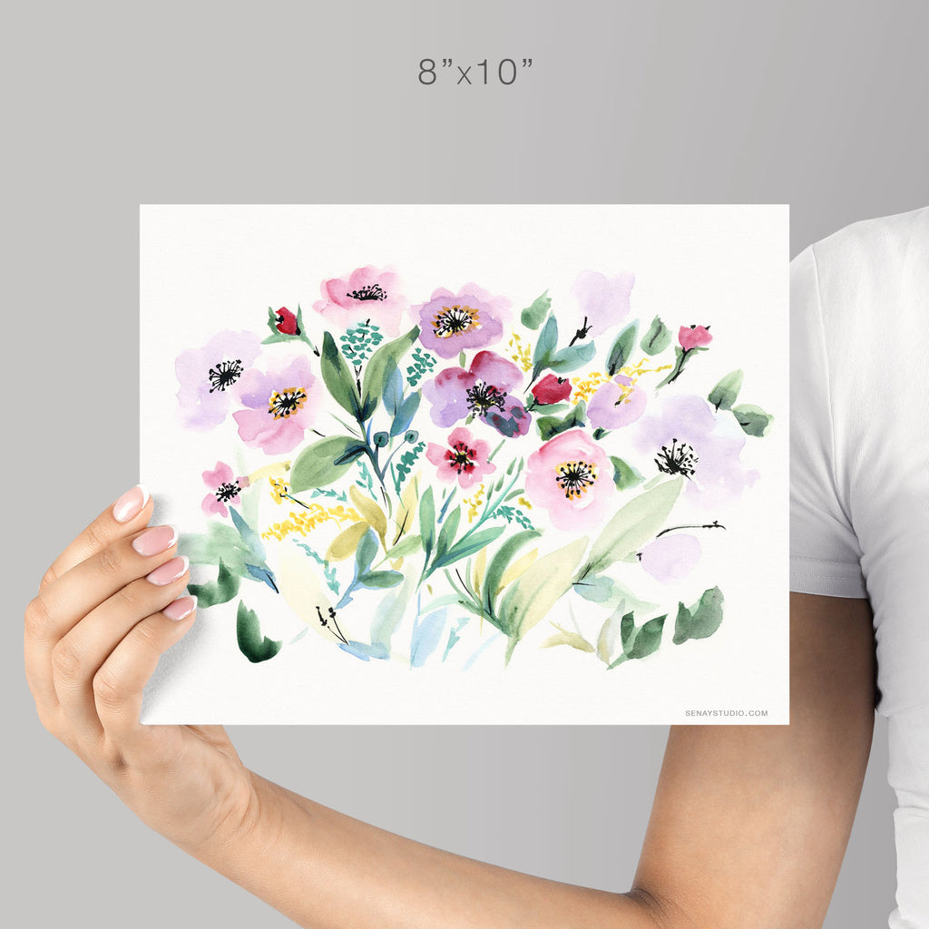 Pink Flowers giclée watercolour paper - Senay Design Studio