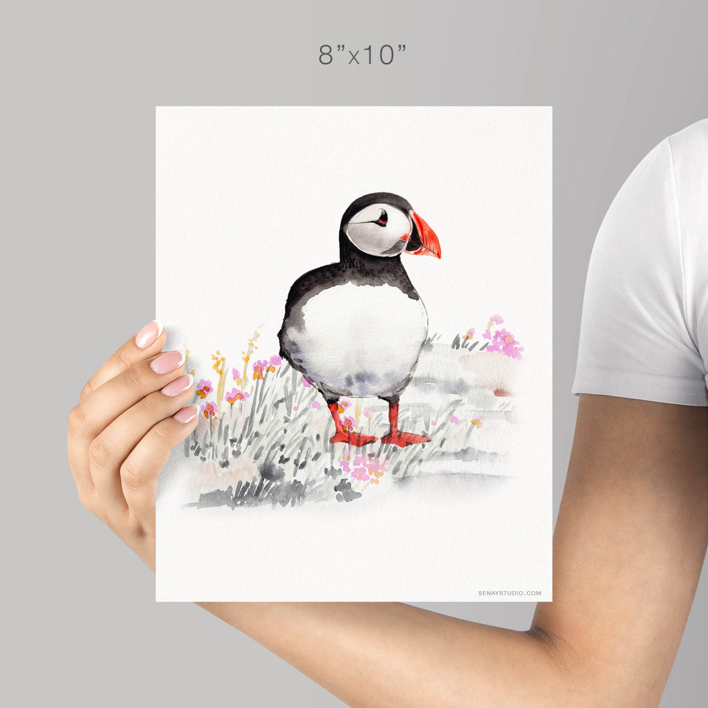 Puffin giclée watercolour paper - Senay Design Studio