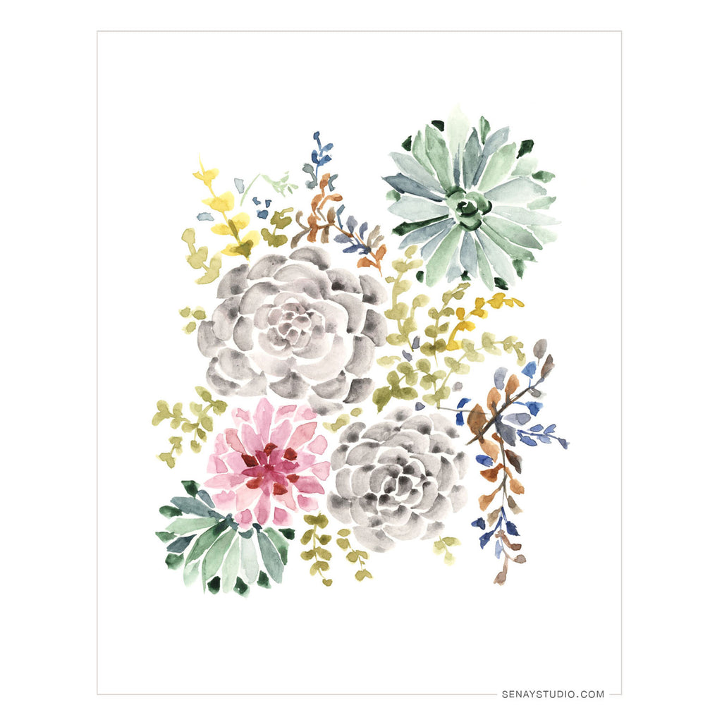 Succulent Garden giclée canvas (Un-Stretched) - Senay Design Studio