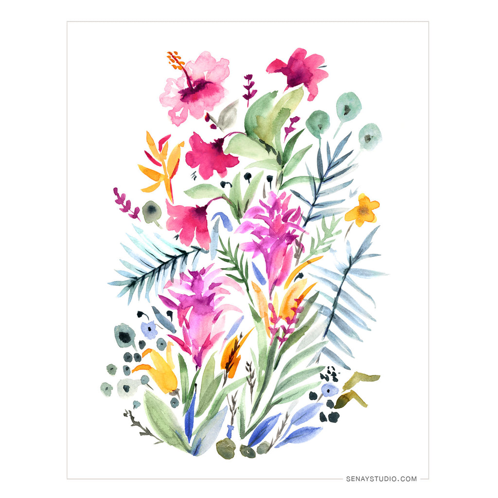 Tropical Garden giclée canvas (Un-Stretched) - Senay Design Studio