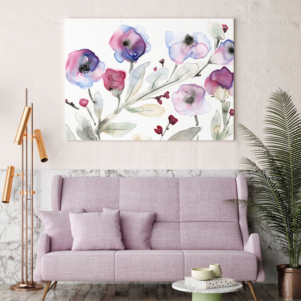 Violet Flowers giclée canvas (READY TO HANG) - Senay Design Studio