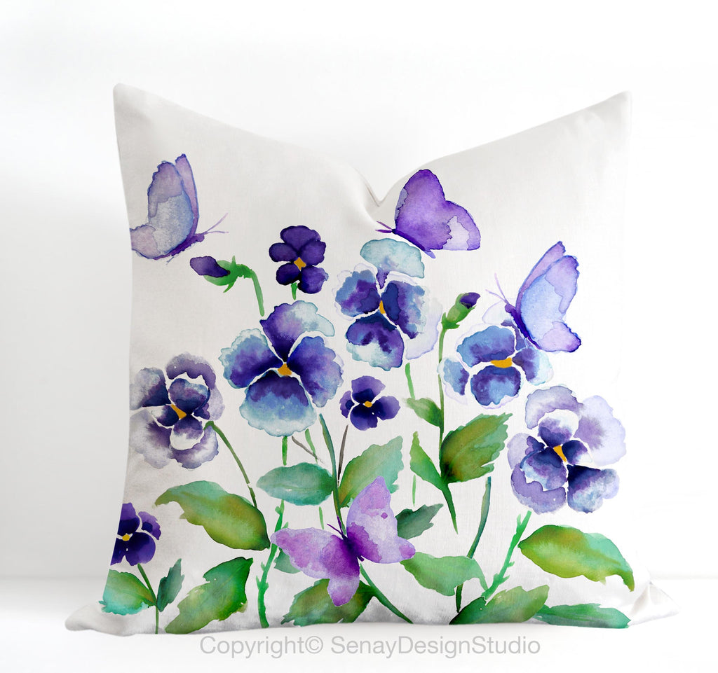Purple Pansies and Butterflies throw pillow cover - Senay Design Studio