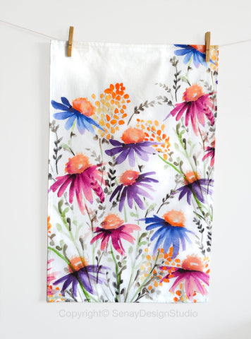 Coneflowers Tea Towel - Senay Design Studio
