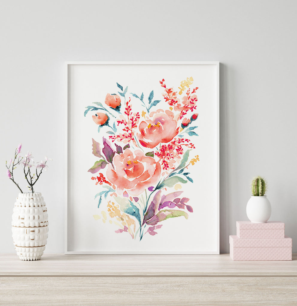 Coral Rose giclée canvas (READY TO HANG)