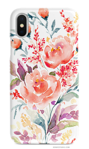 Coral Rose beautiful cellphone case by Senay Design Studio | senaystudio.com