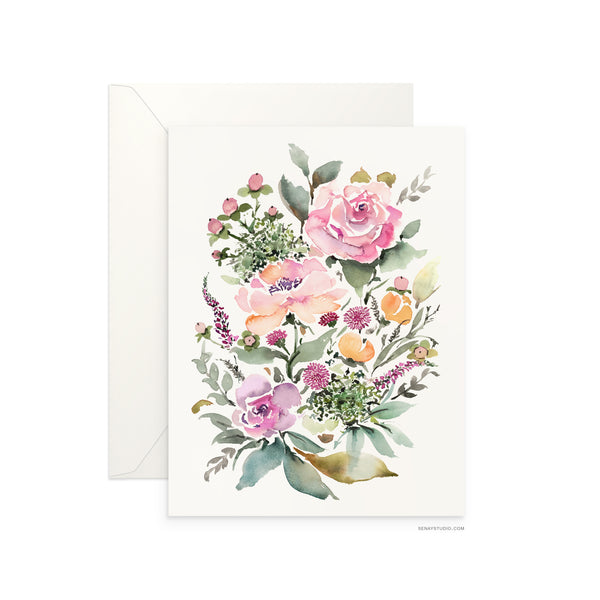 Rose Bouquet blank card