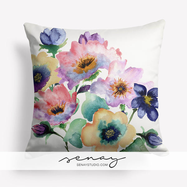 Watercolour Bouquet toss pillow cover