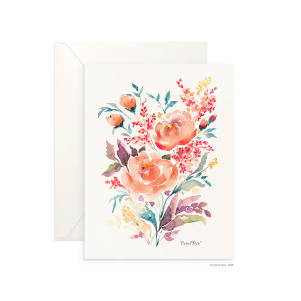 Coral Rose blank card