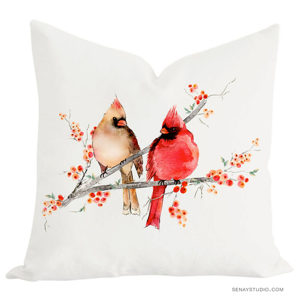 Cardinal Birds toss pillow cover