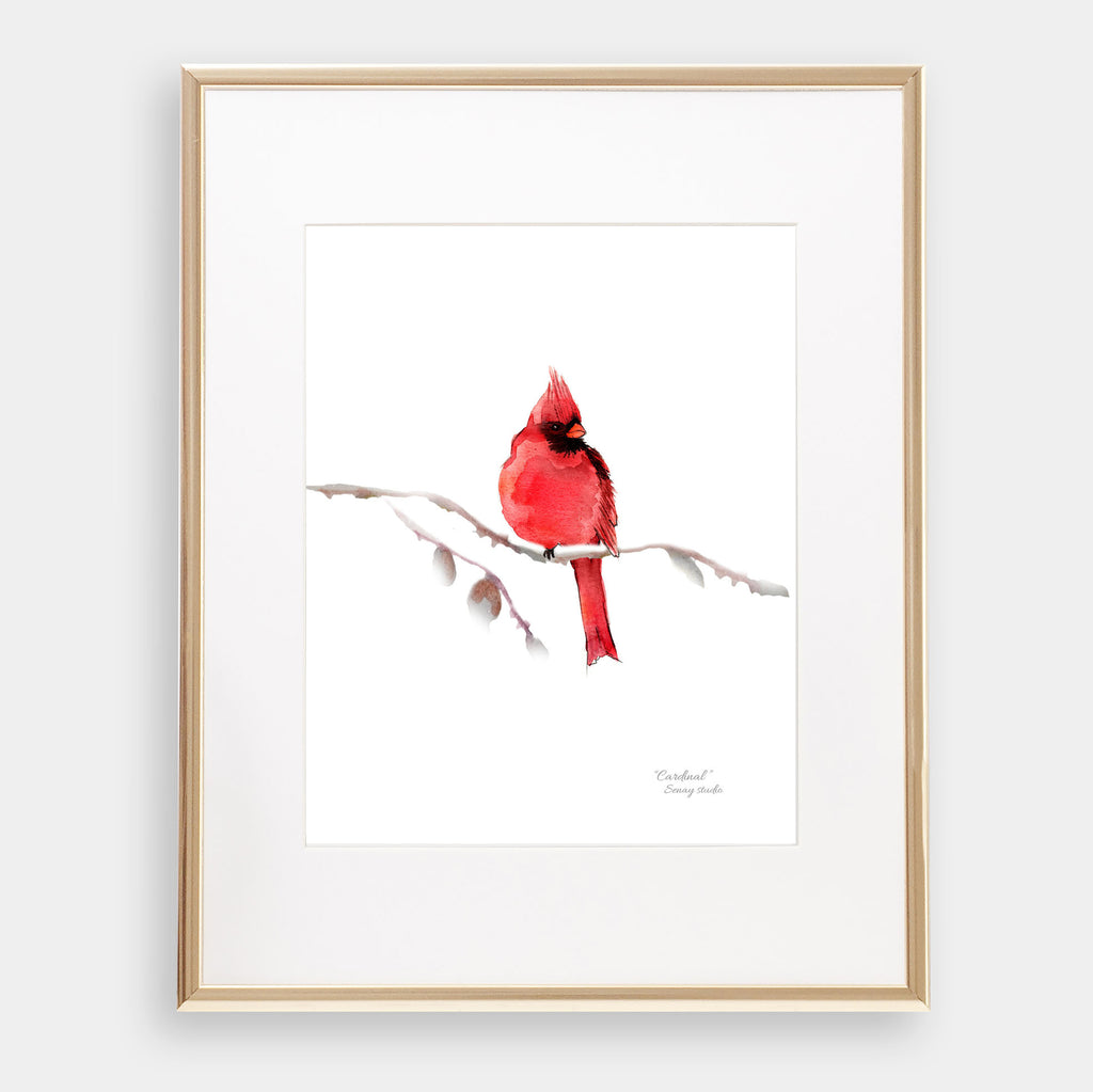 Red Cardinal giclée watercolour paper