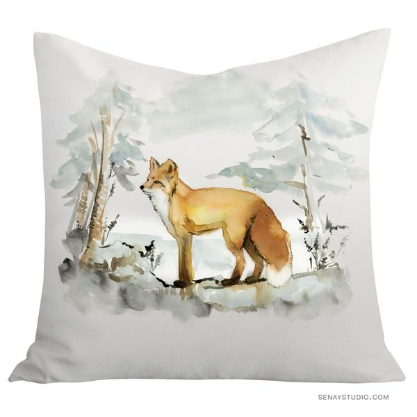 Red Fox toss pillow cover