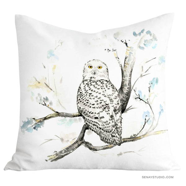 Snowy Owl toss pillow cover