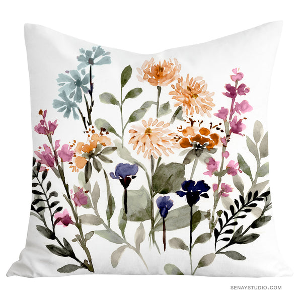 Woodland Flowers toss pillow cover