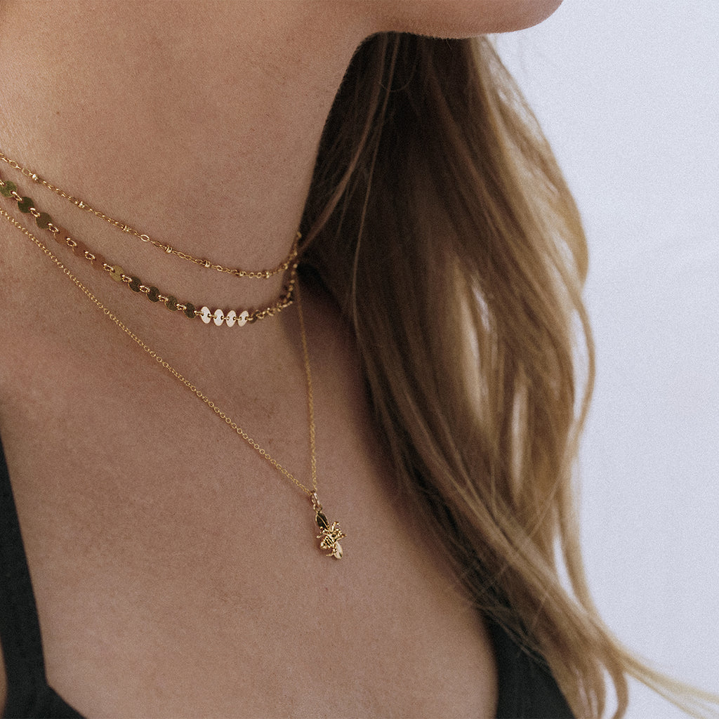 Gold Filled Layered Charm Necklaces
