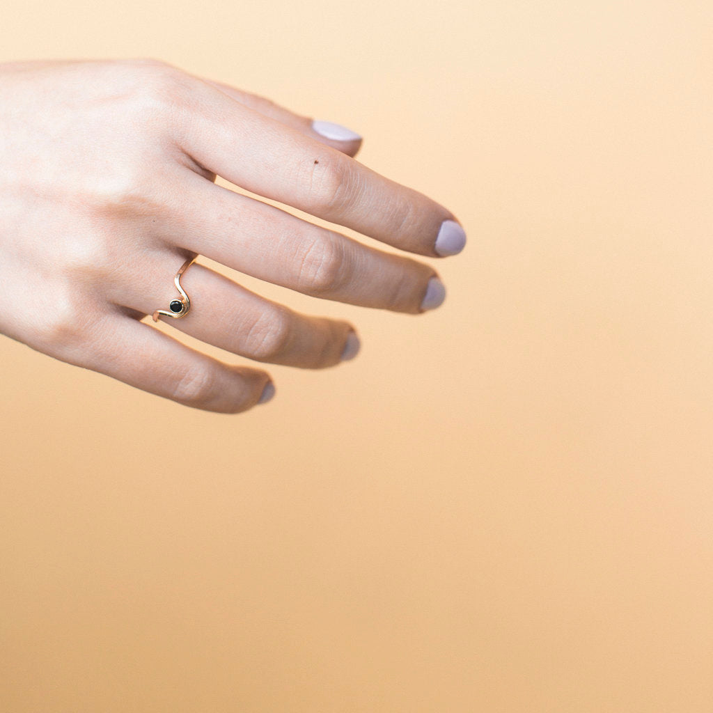 Gold Filled Onyx Curve Ring