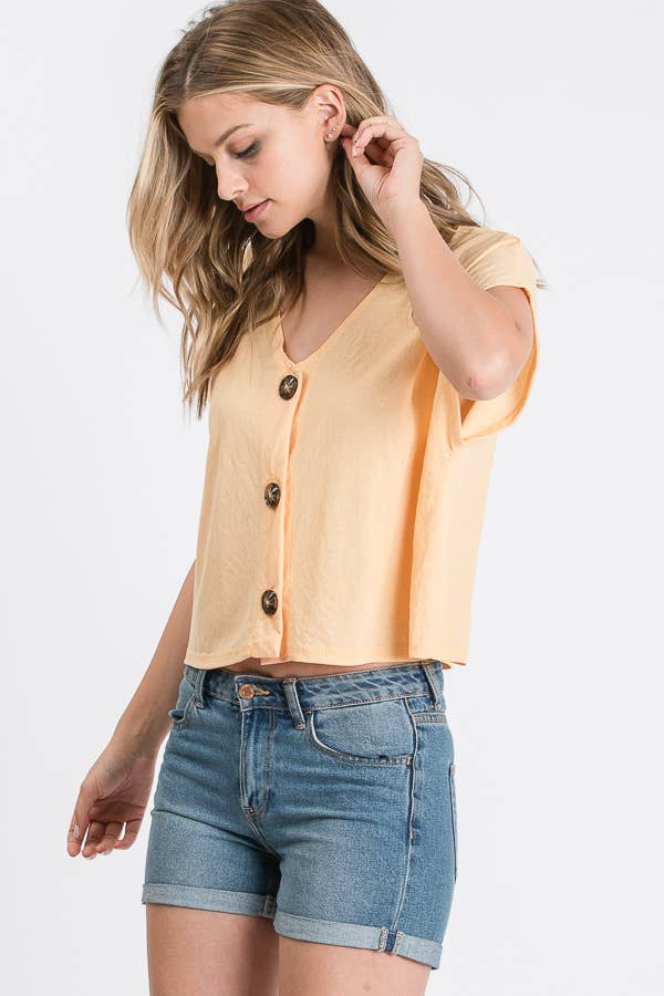 SHORT SLEEVE BUTTON DOWN CROP TOP