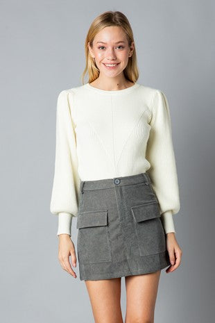 Corduroy Skirt with Pockets