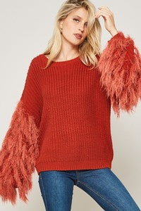 Fringe Sleeve Sweater - Rust