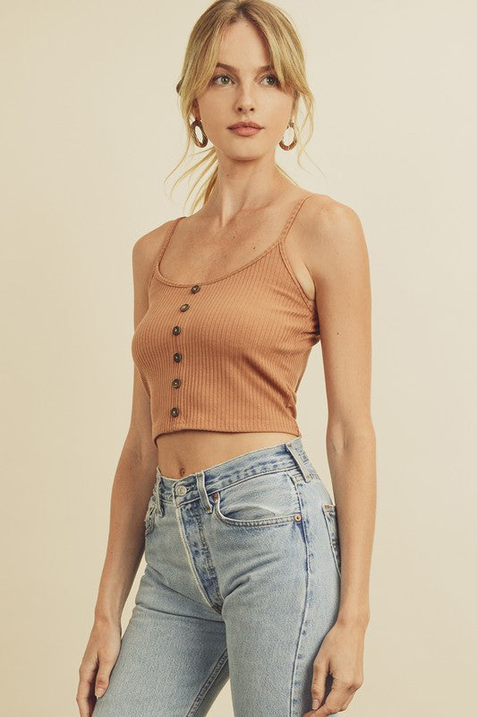 Ribbed Knit Top in Sand