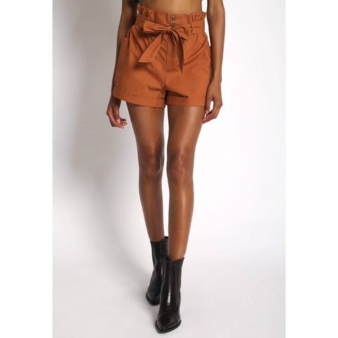 Paper Bag Waist Shorts in Rust