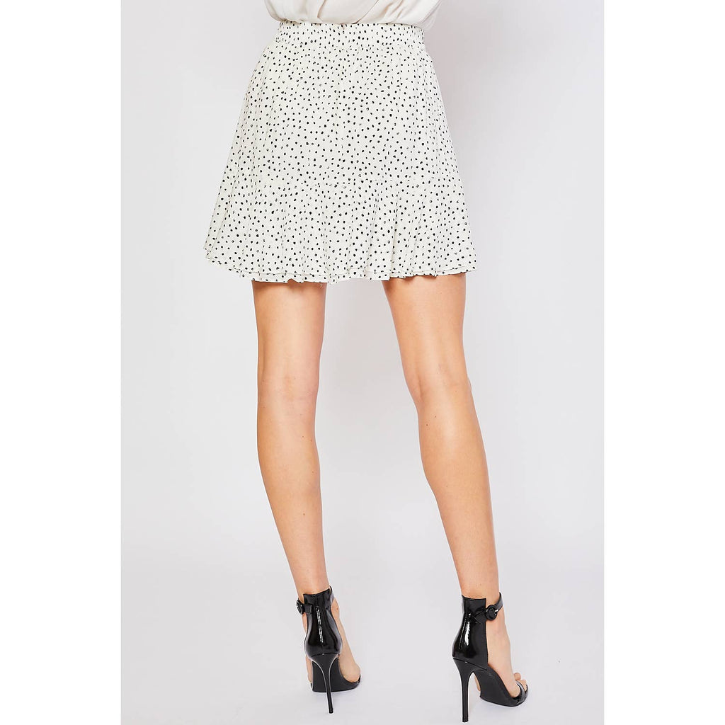 SPOT PRINT RUFFLED HEM WRAP MINI SKIRT