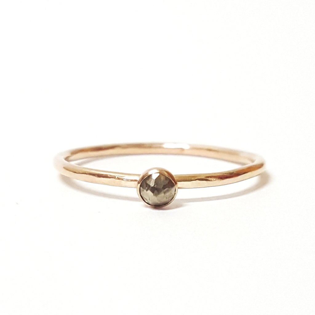 Mini Pyrite Stacking Ring in Gold