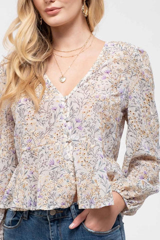 Embroidered Floral Peplum Top