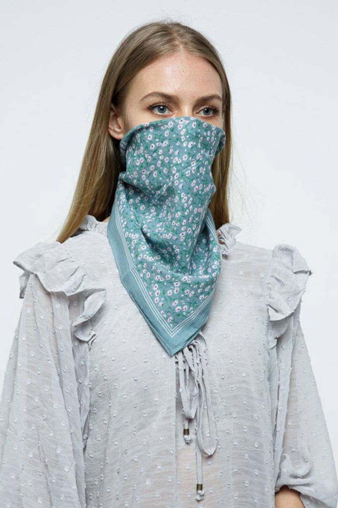 Floral Bandana in Teal