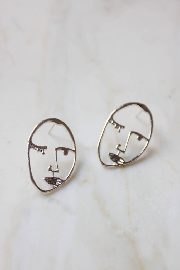 Visage Face Studs in Silver