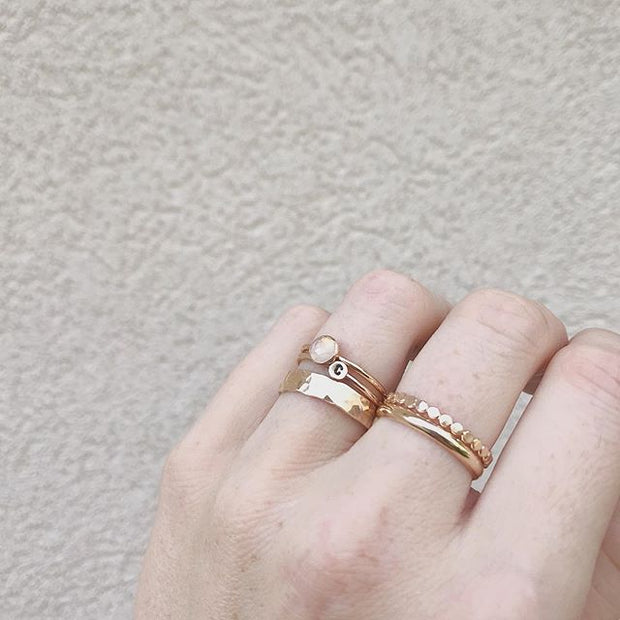 Ultra Thick Hammered Stacker in Gold 1