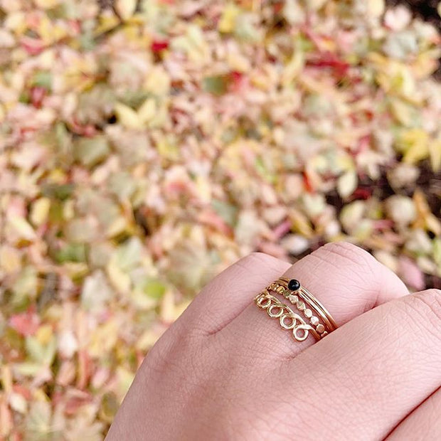 Mini Black Onyx Stacking Ring in Gold 1
