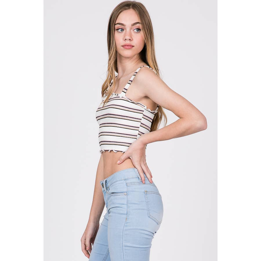 STRIPE CROP TANK TOP WITH LETTUCE HEM
