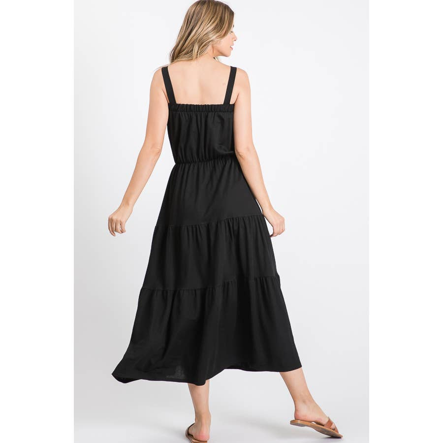 Button Maxi Dress in Black