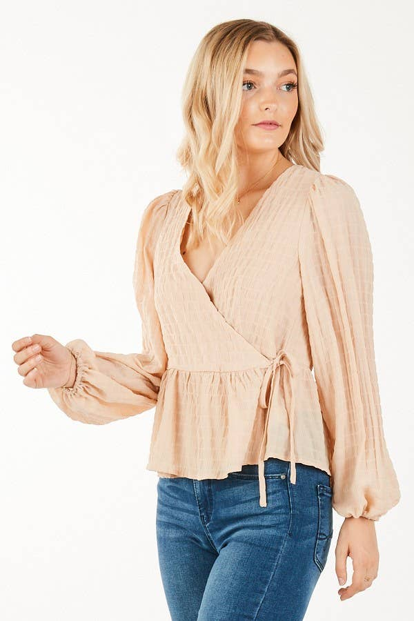 Wrap Peplum Blouse in Blush