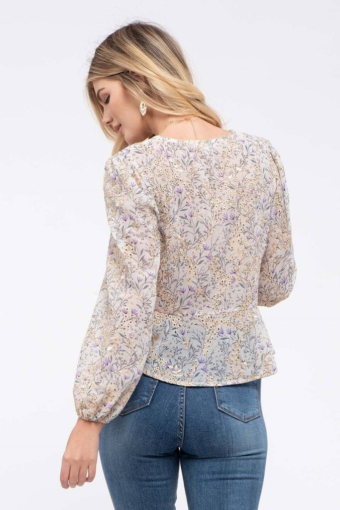 Isla Embroidered Floral Peplum Top