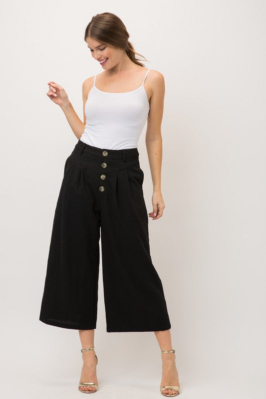 Pleat Button Down Wide Pant