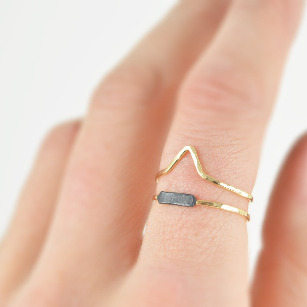 """Salty Peaks"" Adjustable Gold and Blackened Silver Ring *Limited Edition*"