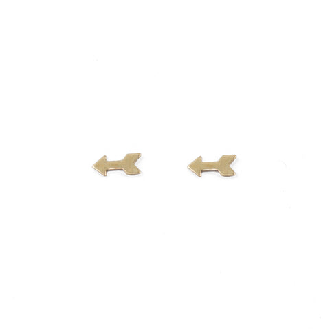 Tiny stud arrow gold earrings