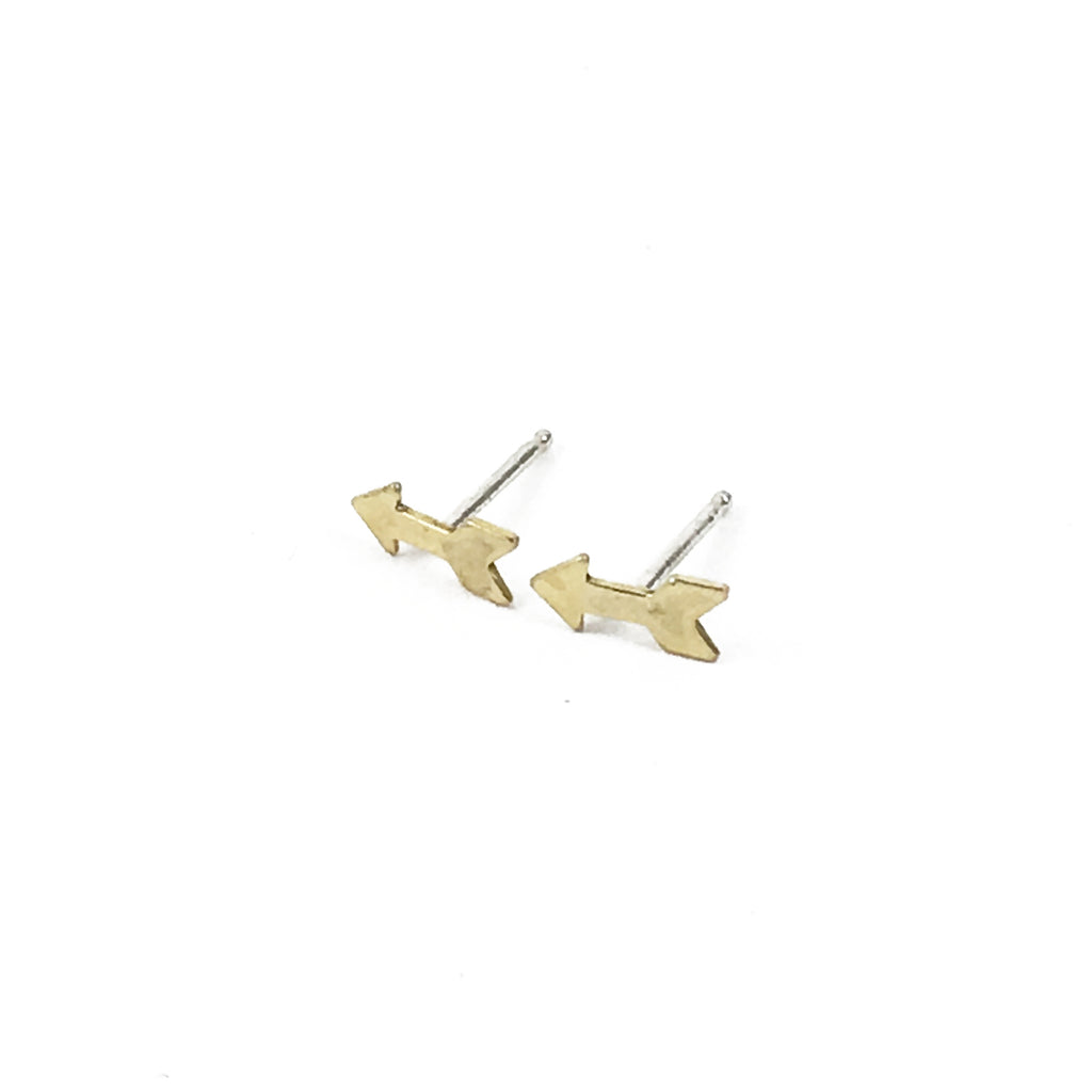 Tiny Arrow Stud Earrings in Brass