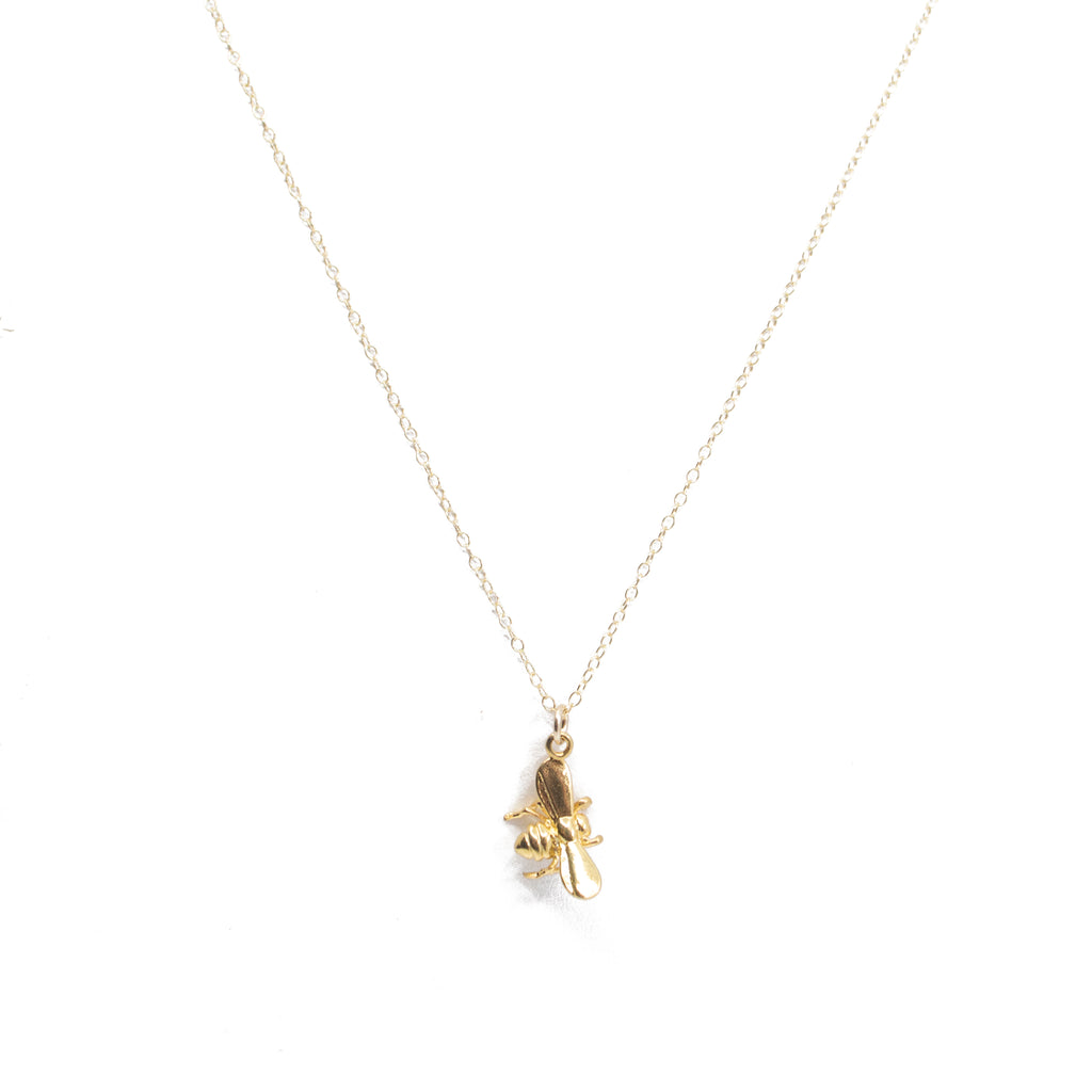 Bee Charm Necklace in Gold