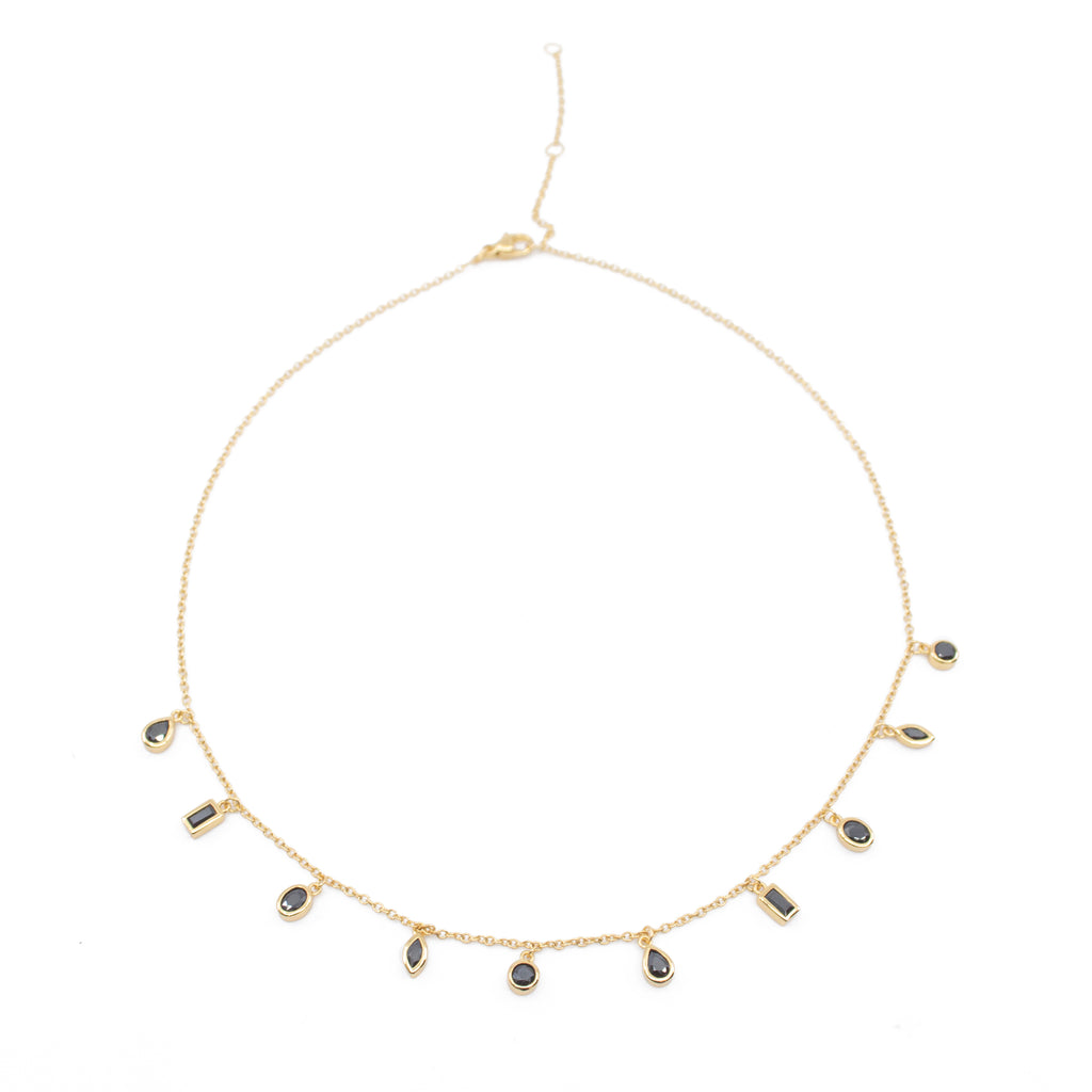 Daphne Black CZ Gemstone Choker Necklace in Gold