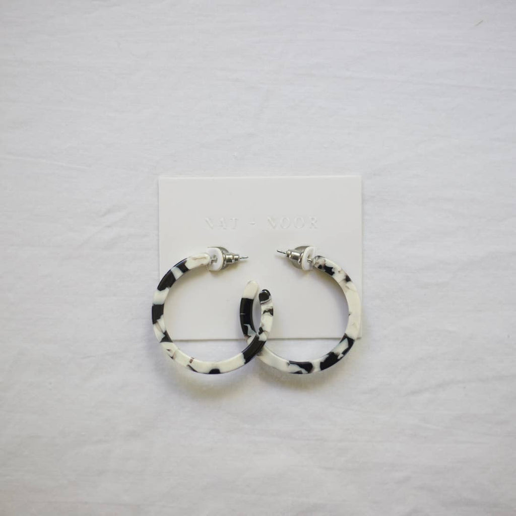 Classic Tortoise Hoops in Black & White