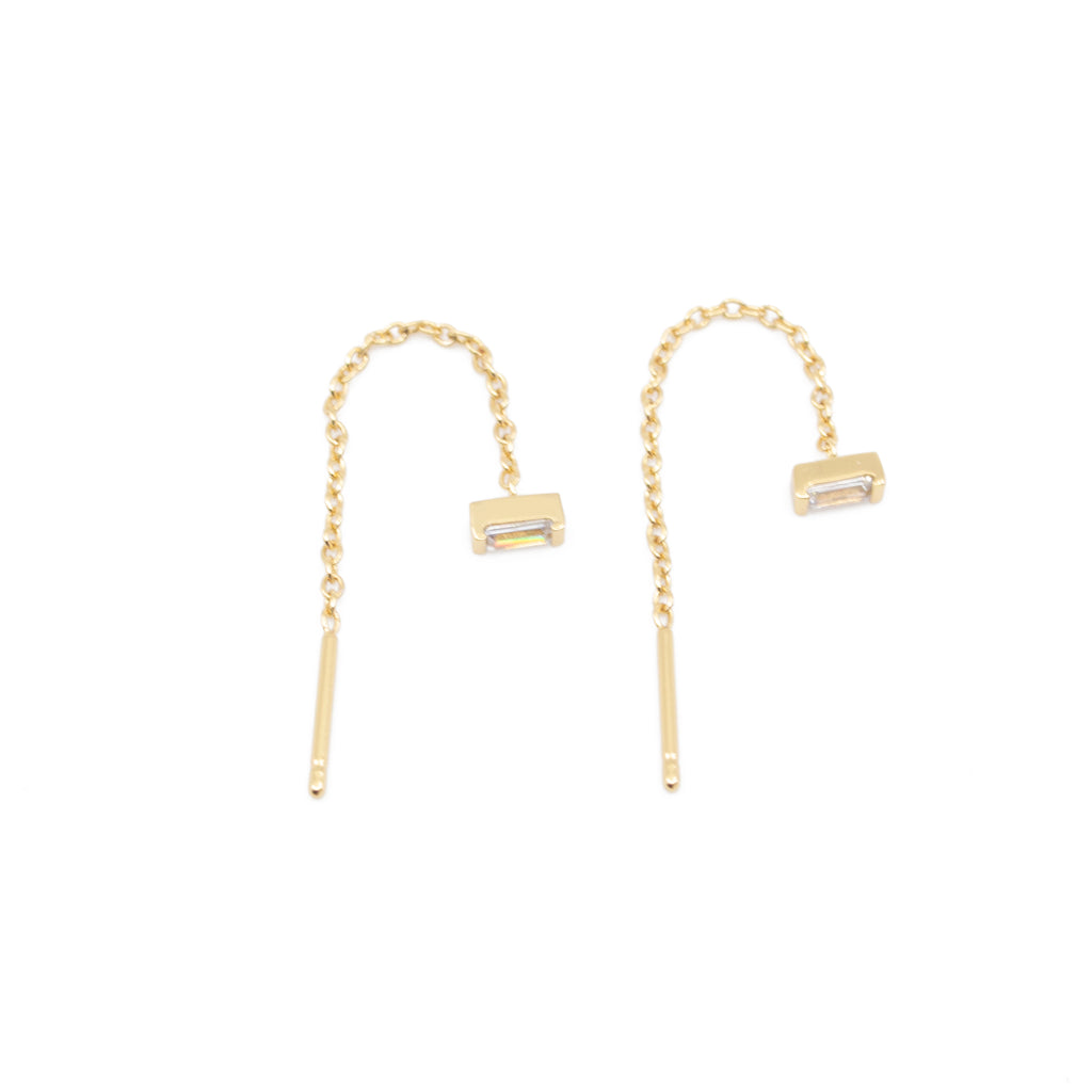 Clear CZ Diamond Baguette Threader Earrings in Gold