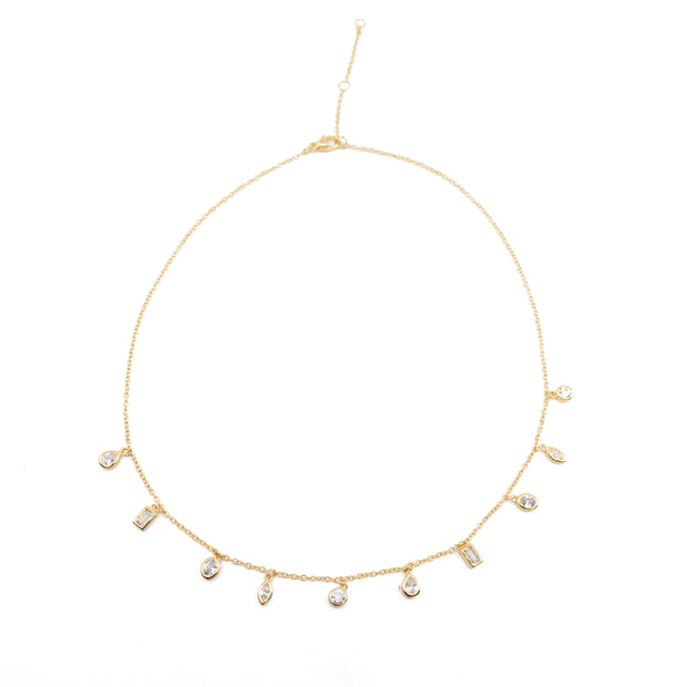 Daphne Clear CZ Gemstone Choker Necklace in Gold 1