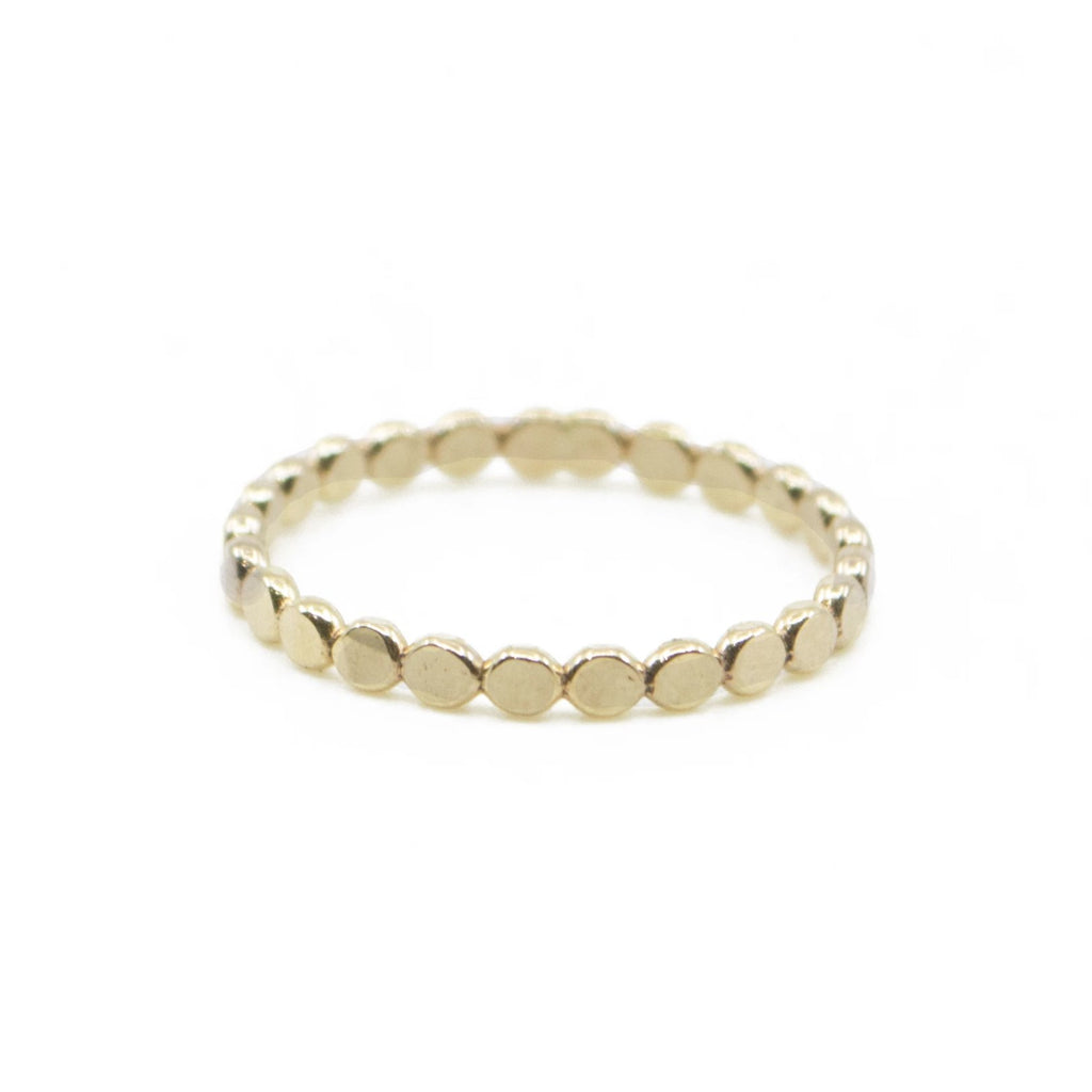 Coin Hammered Disc Boho Dainty Stacking Ring in 14k Gold Filled